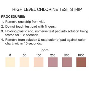 Chlorine Test Strips 0-1000ppm (vial of 100)